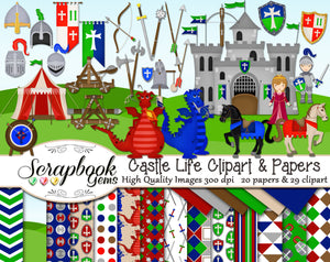 CASTLE LIFE Clipart & Papers