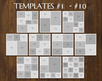 "TWENTY 12"" x 12"" Digital Photo Collage Templates, PSD Format"