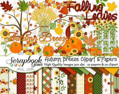 AUTUMN BREEZE Clipart & Papers