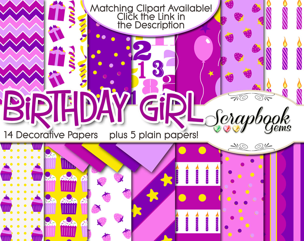 BIRTHDAY GIRL Digital Papers