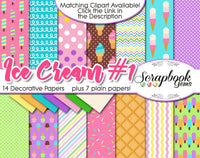 ICE CREAM, Set #1 Digital Papers