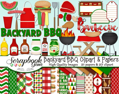 BACKYARD BBQ Clipart & Papers
