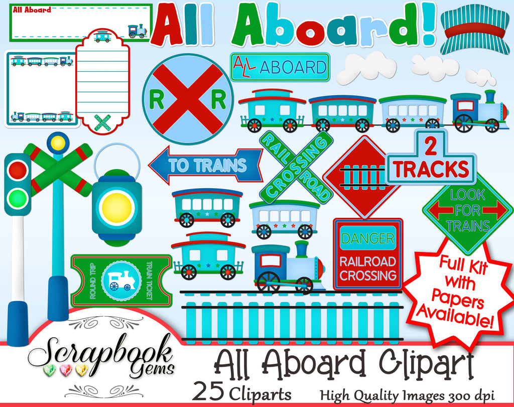 ALL ABOARD Train Clipart