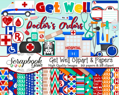 GET WELL Hospital Clipart & Papers