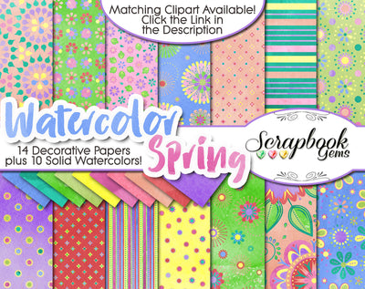 WATERCOLOR SPRING Digital Papers
