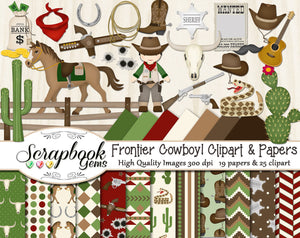 FRONTIER COWBOY Clipart & Papers