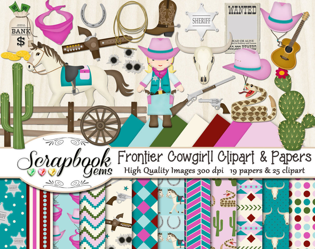 FRONTIER COWGIRL Clipart & Papers