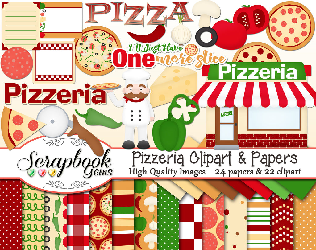 PIZZERIA Clipart and Papers