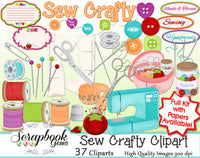 SEW CRAFTY Clipart and Papers