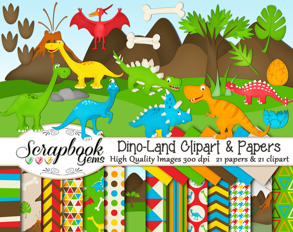 DINO-LAND Clipart & Papers