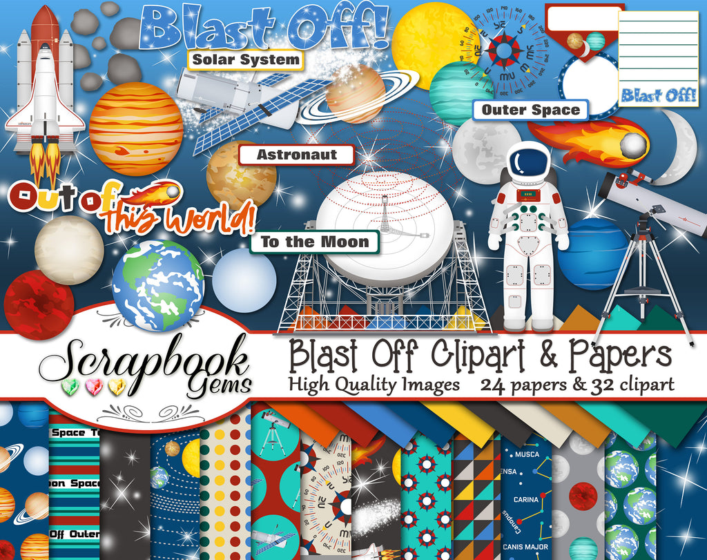 BLAST OFF Clipart and Papers