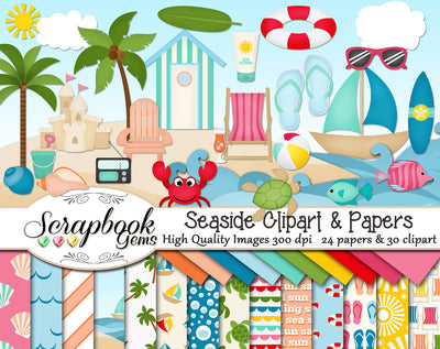 SEASIDE Beach Clipart & Papers
