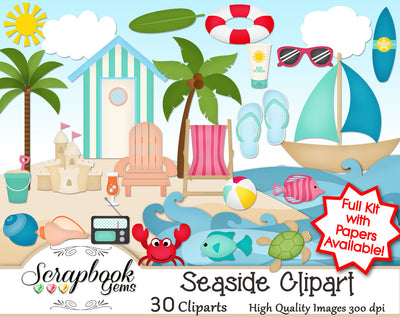 SEASIDE Beach Clipart