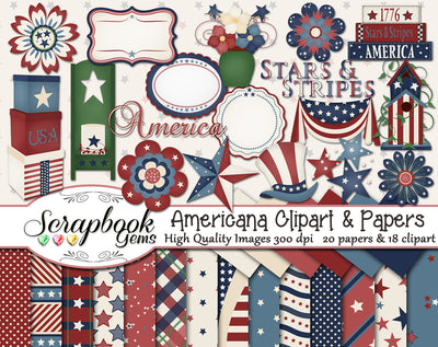 AMERICANA Clipart & Papers