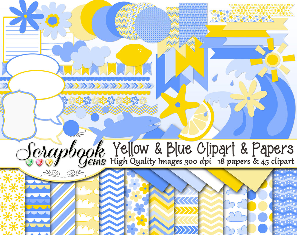 YELLOW & BLUE Clipart and Papers