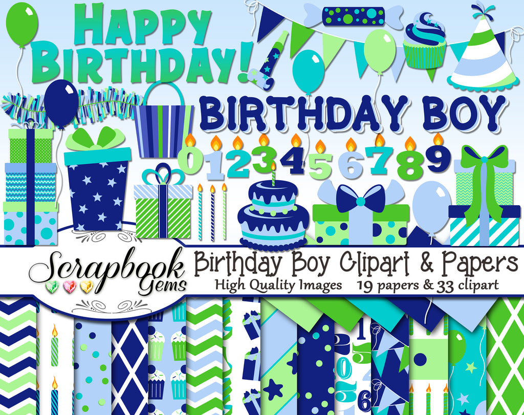 BIRTHDAY BOY Clipart & Papers