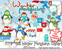 WINTER PENGUINS Clipart and Papers