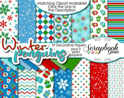 WINTER PENGUINS Digital Papers