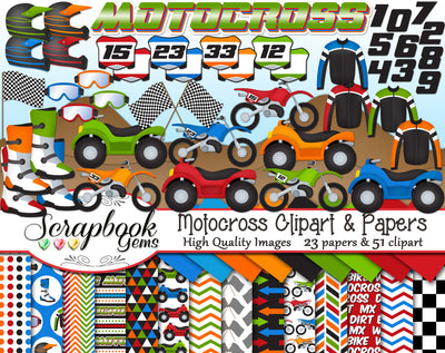 MOTOCROSS Clipart and Papers