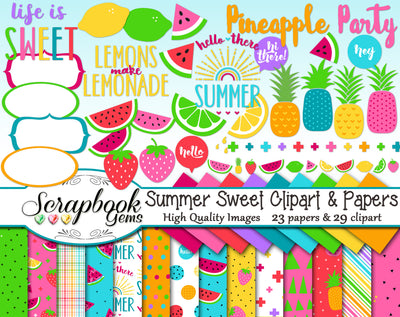 SUMMER SWEET Clipart & Papers