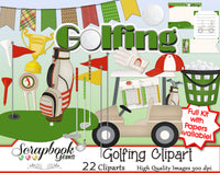 GOLFING Clipart and Papers