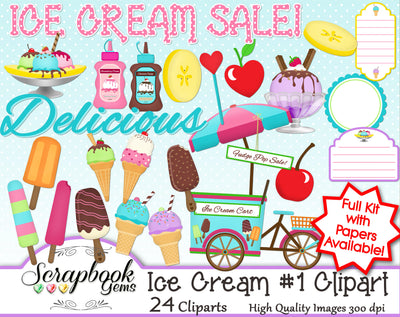 ICE CREAM, Set #1 Clipart