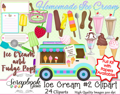 ICE CREAM, Set #2 Clipart