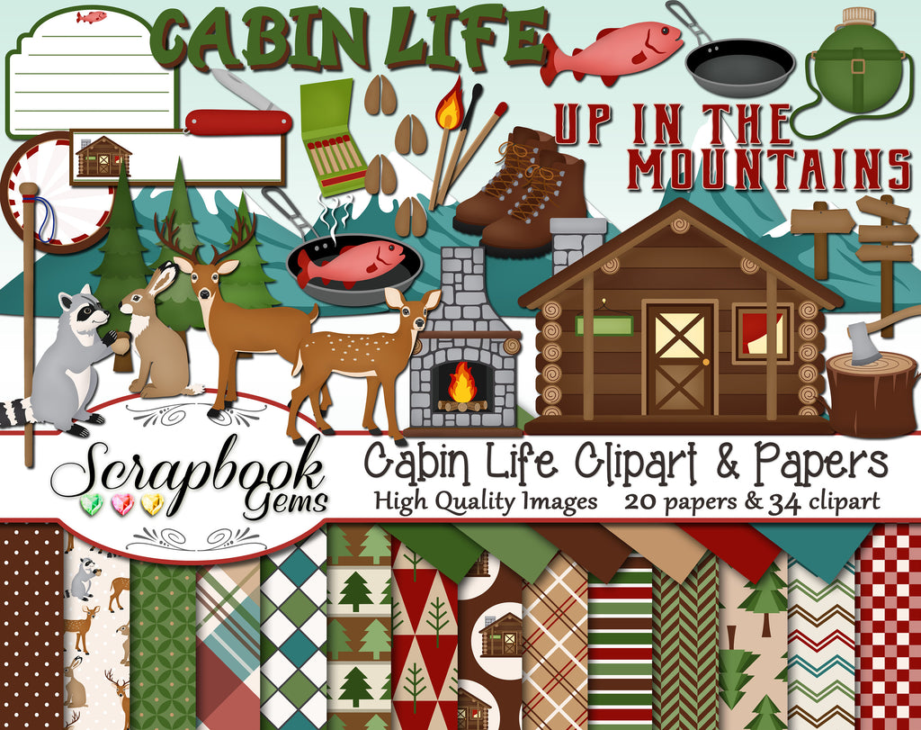 CABIN LIFE Clipart & Papers