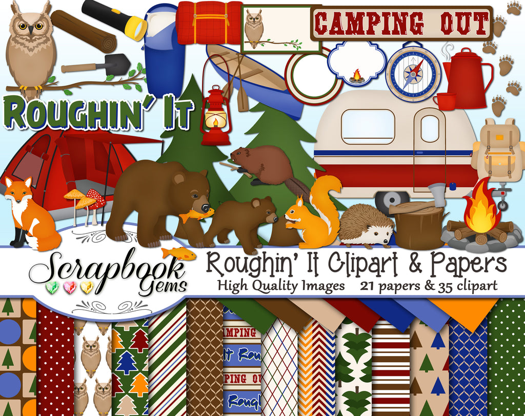 ROUGHIN' IT Camping Clipart & Papers