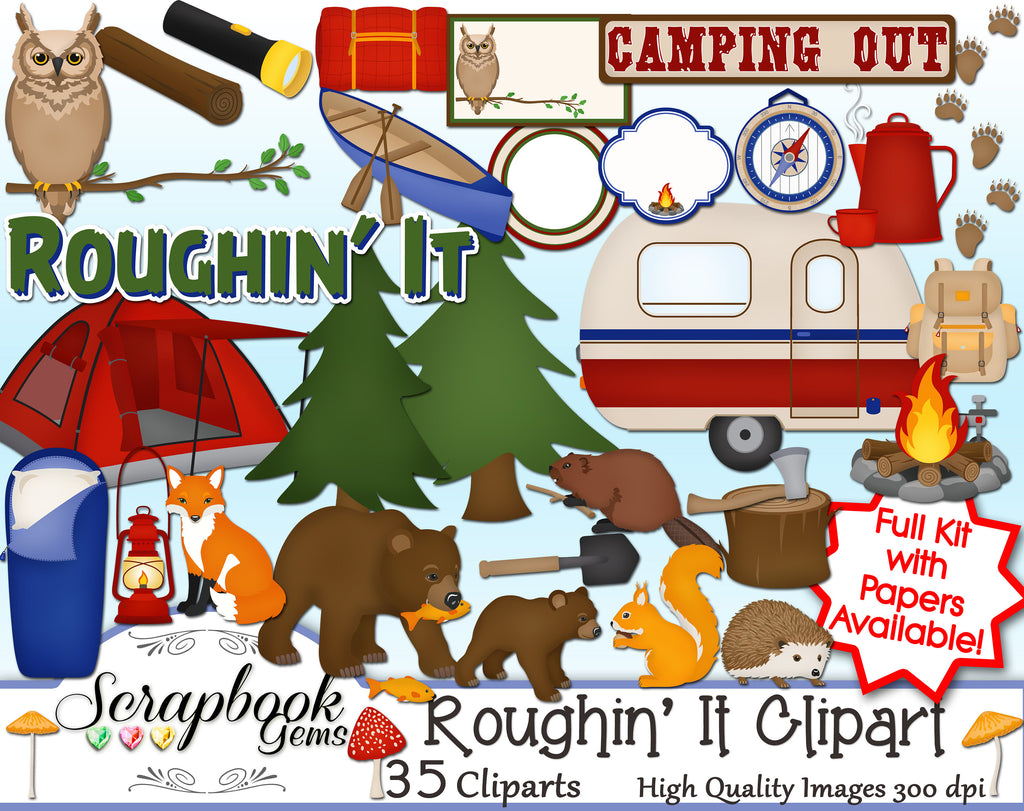 ROUGHIN' IT Camping Clipart