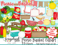 PICNIC BASKET Clipart and Papers