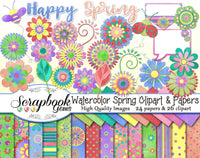 WATERCOLOR SPRING Clipart & Papers