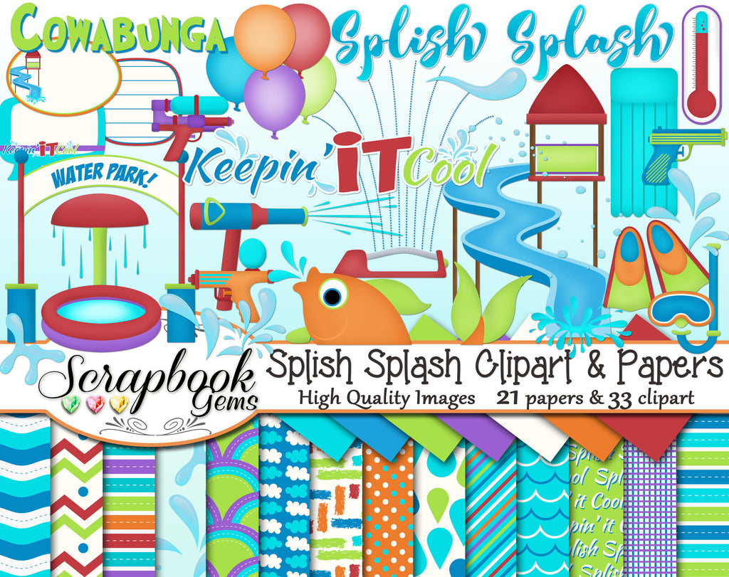 SPLISH SPLASH Clipart and Papers