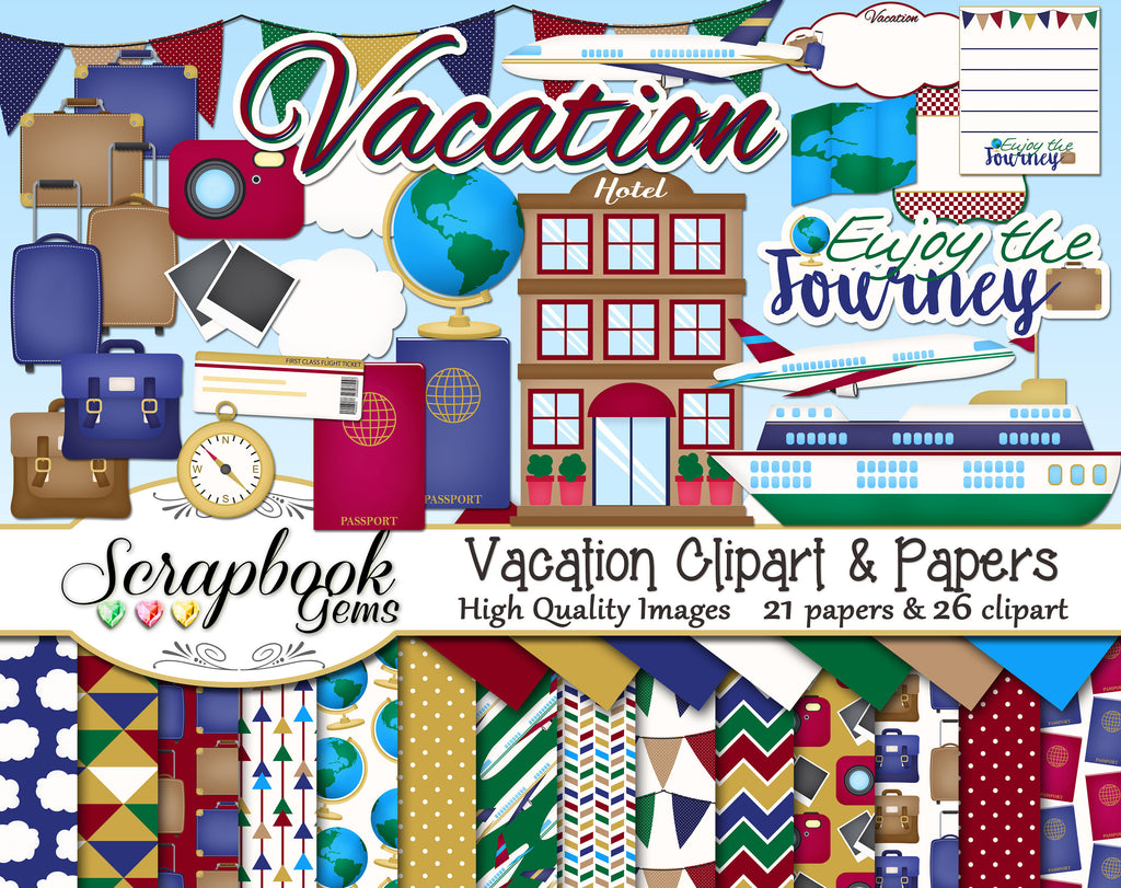 VACATION Clipart and Papers