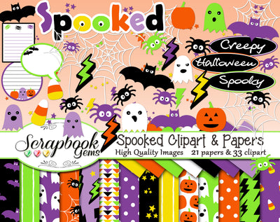 SPOOKED Halloween Clipart and Papers