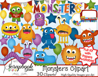 MONSTERS Clipart and Papers
