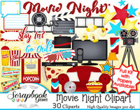 MOVIE NIGHT Clipart and Papers