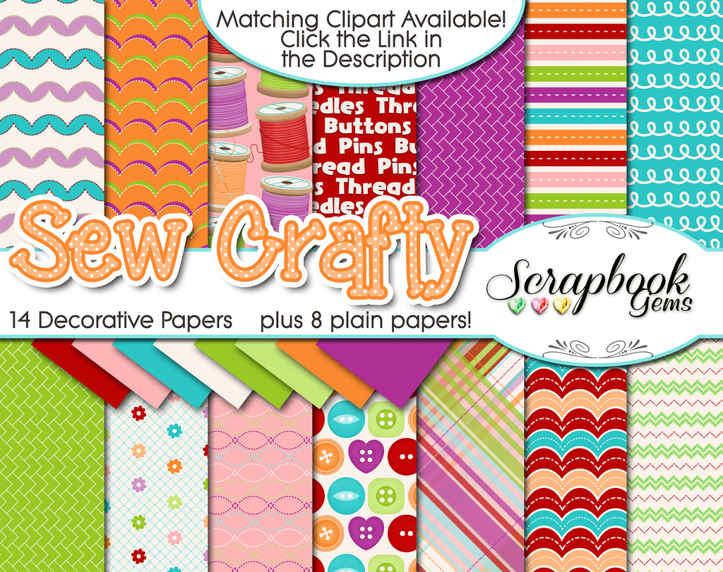 SEW CRAFTY Digital Papers