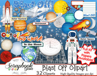 BLAST OFF Space Clipart