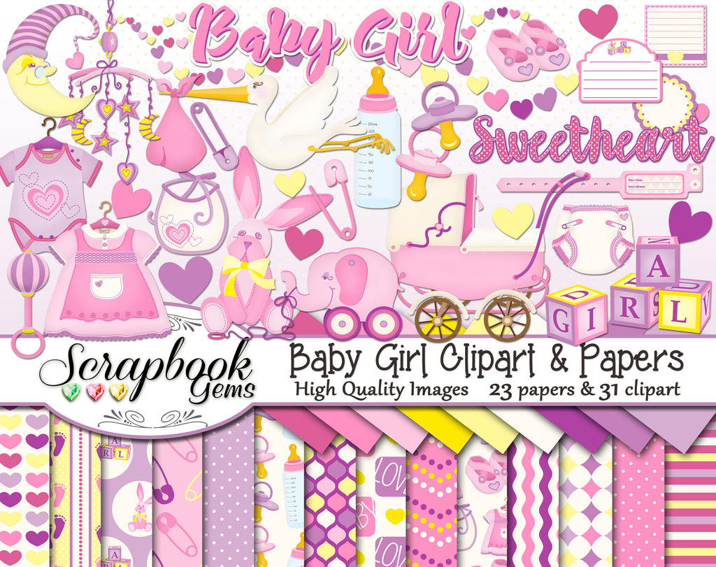 BABY GIRL Clipart and Papers