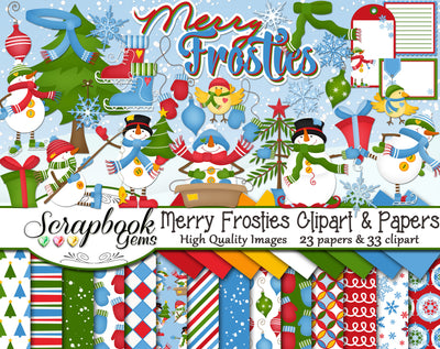 MERRY FROSTIES Clipart and Papers