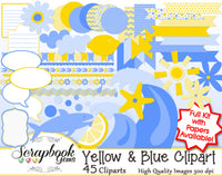 Yellow & Blue Summer Clipart
