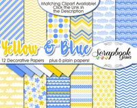 YELLOW & BLUE Digital Papers