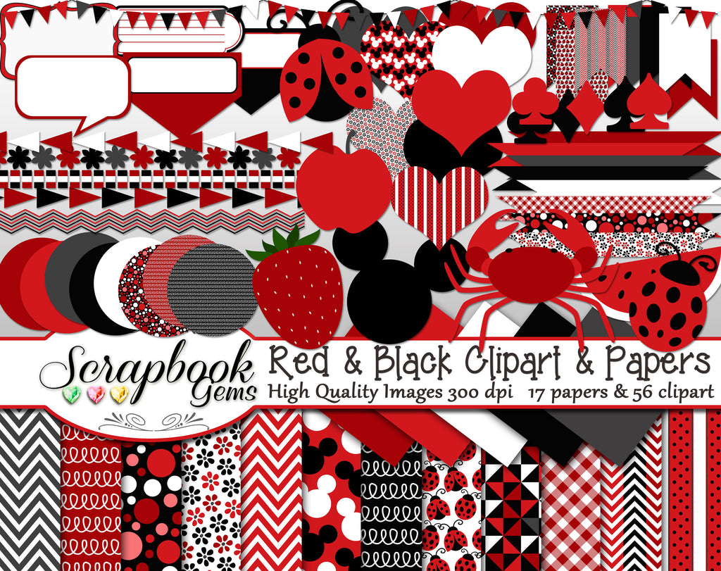 RED & BLACK Clipart and Papers