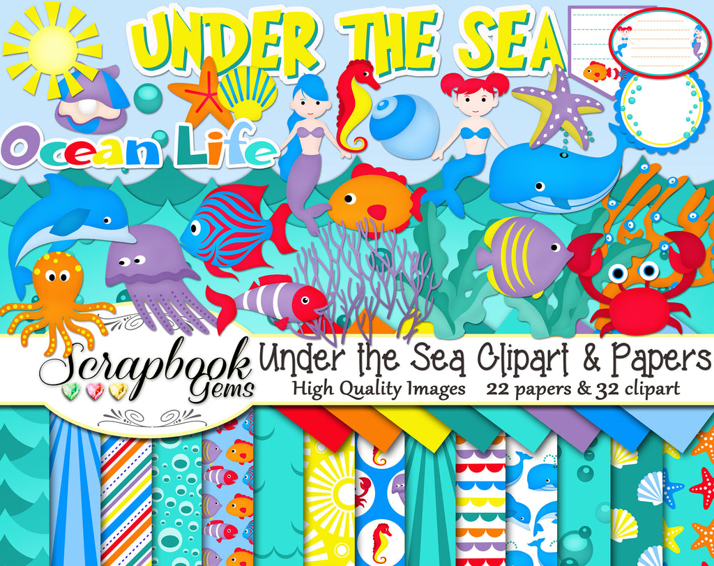 UNDER THE SEA Clipart and Papers