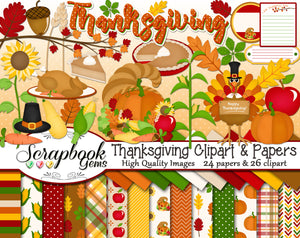 THANKSGIVING Clipart and Papers