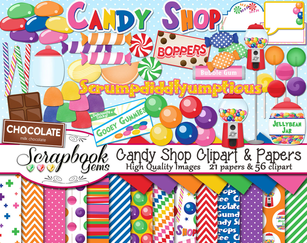 CANDY SHOP Clipart and Papers