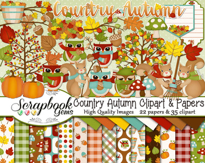COUNTRY AUTUMN Clipart and Papers