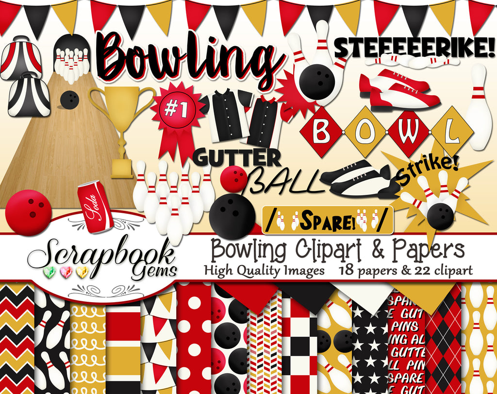 BOWLING Clipart and Papers