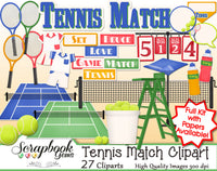 TENNIS MATCH Clipart and Papers